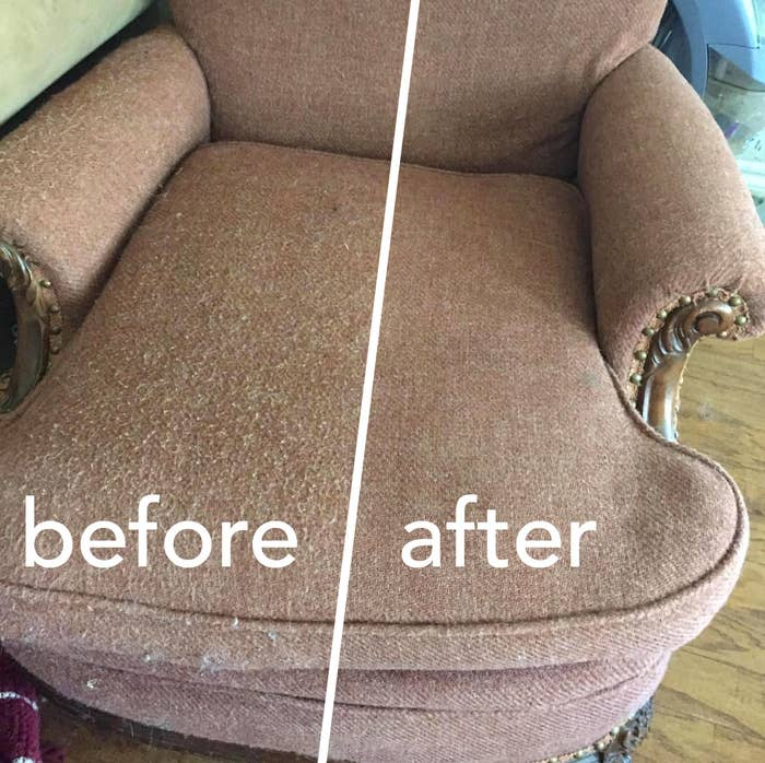 """A reviewer's armchair, half of it covered in nubby pills and labeled """"before"""", the other half smooth, looking new, with no pills in sight"""