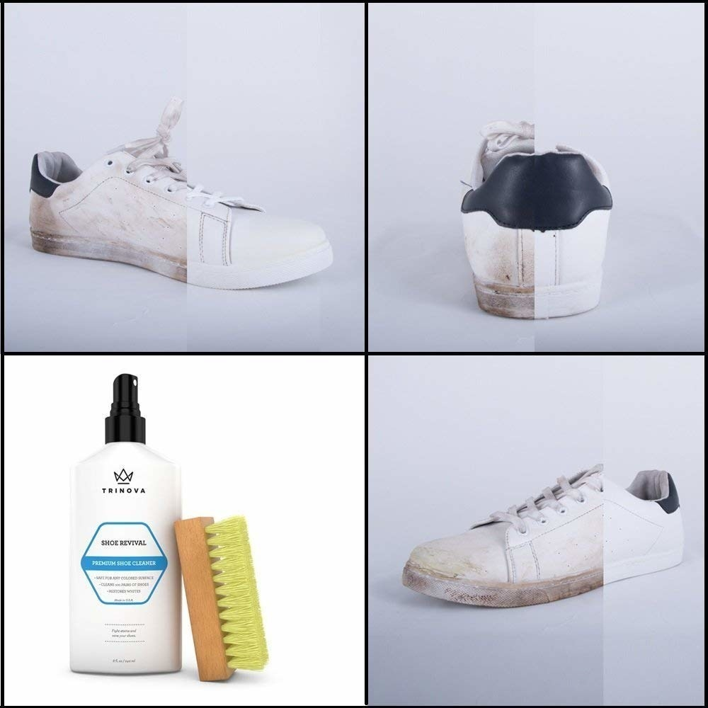 A series of before and after photos showing the results of the shoe kit