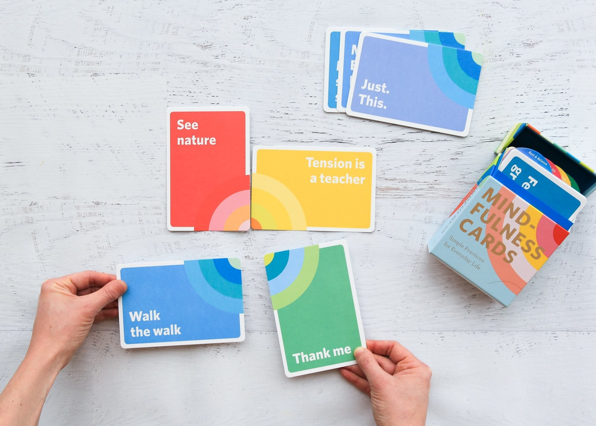 "cards that say things like ""walk the walk"""