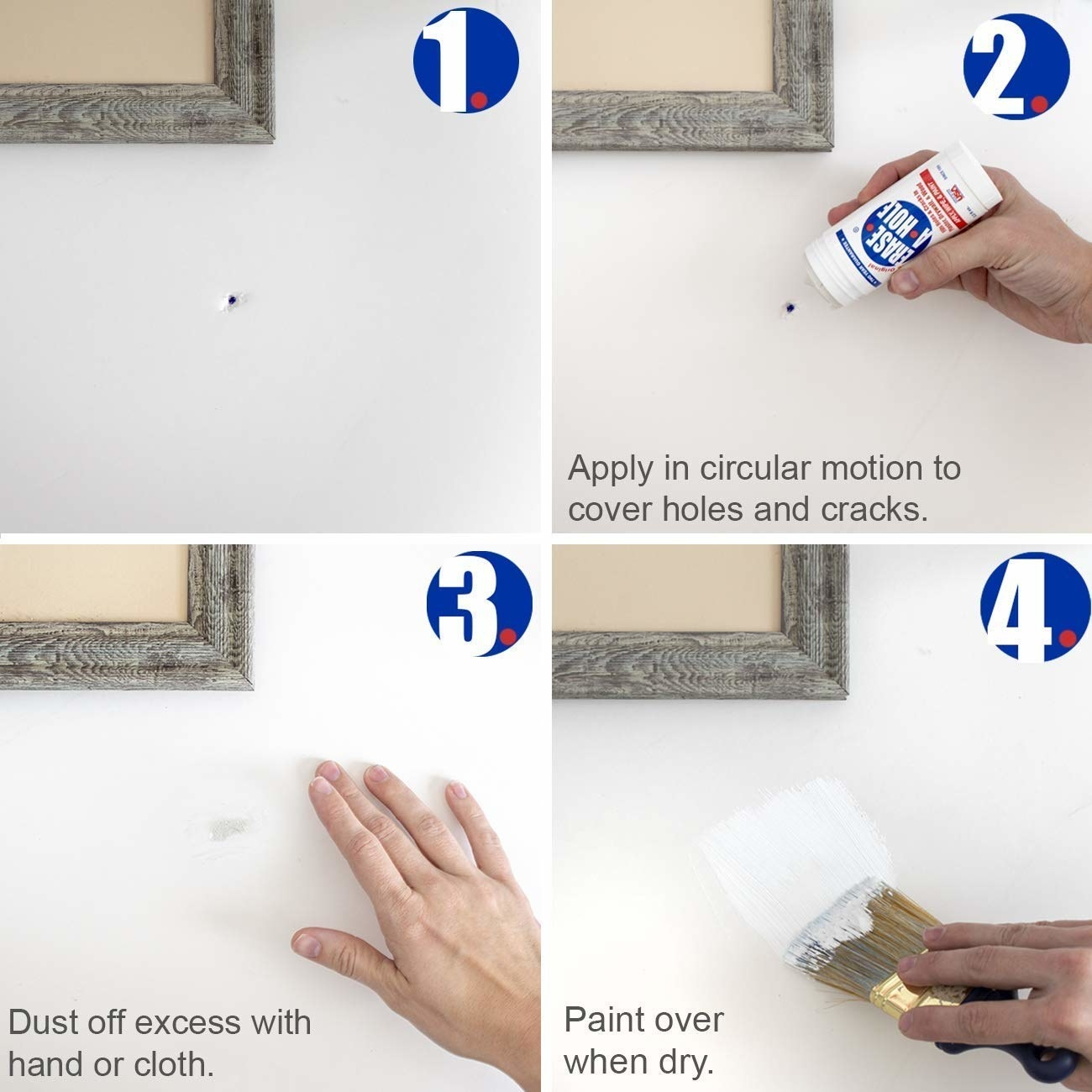 A series of photos showing how to apply the drywall repair putty