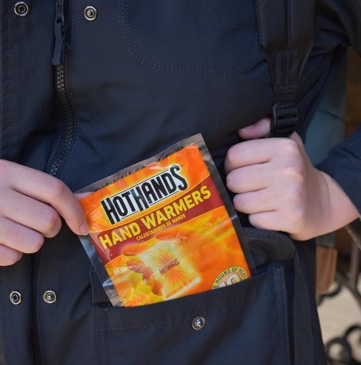 pack of hot hands in a jacket pocket
