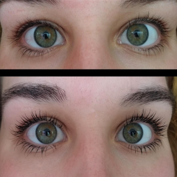 top photo shows a reviewer's eyelashes before mascara. bottom photo shows same reviewer's lashes after applying the mascara that look more pronounced and not clumpy.