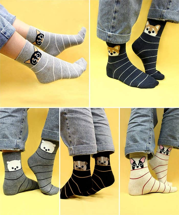 striped socks with animals on it