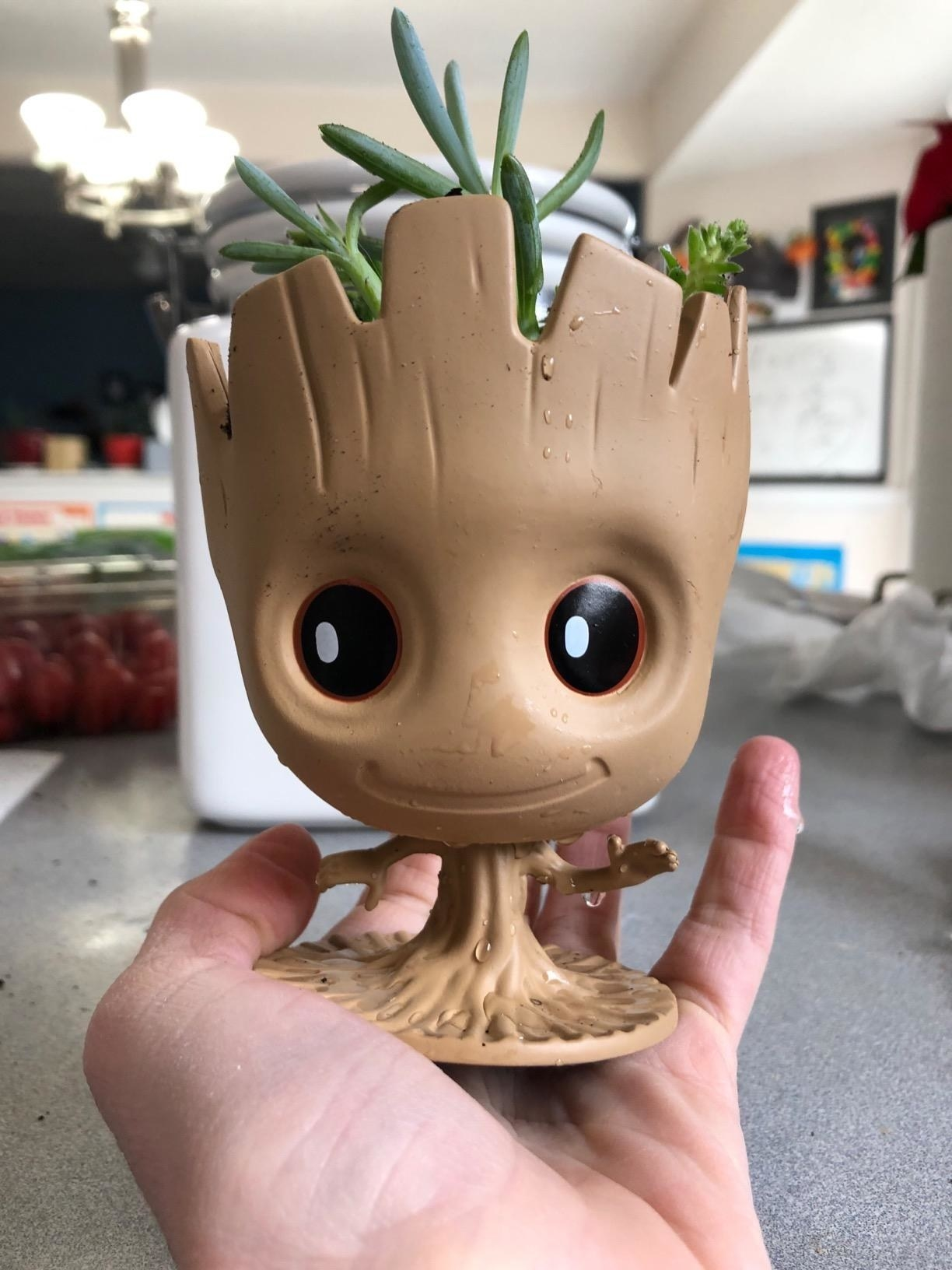 baby groot with plant in head