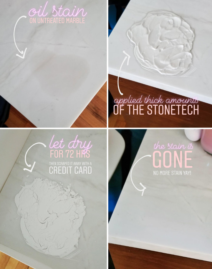 A reviewer's four steps: 1 an oil stain on untreated marble, 2 apply thick amount of product 3 let dry for 72 hrs 4 scrape away and the stain is gone