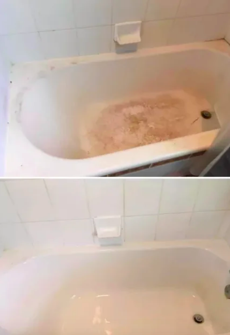 Reviewer's stained tub sparkling clean after using brushes
