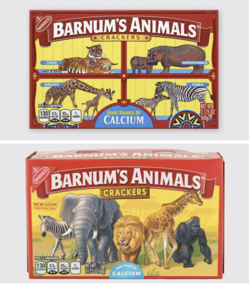 Boxes of Nabisco Animal crackers next to each other, one in the old packaging, and one in the new