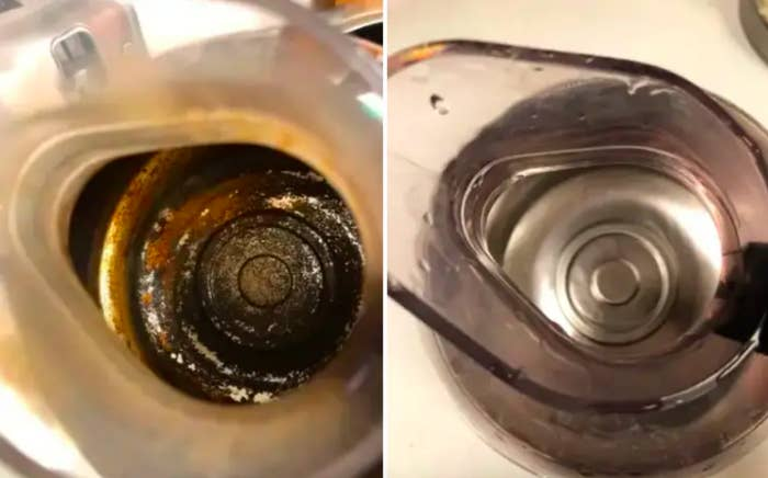 Before and after reviewer's photo of crud-covered coffee bottom scrubbed clean and shiny after use
