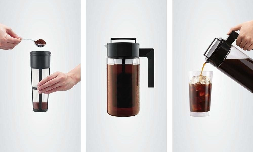 on the left grounds being scooped into the filter, in the middle the filter and top on the pitcher brewing, on the right iced coffee being poured