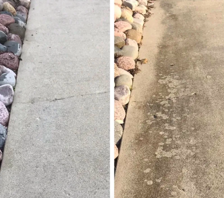 Reviewer's driveway clean after use and covered in tire tracks and oil stains before use