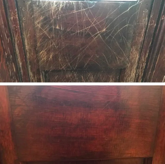 Reviewer's old wood door severely scratched and worn looking brighter and almost scratch-free after use