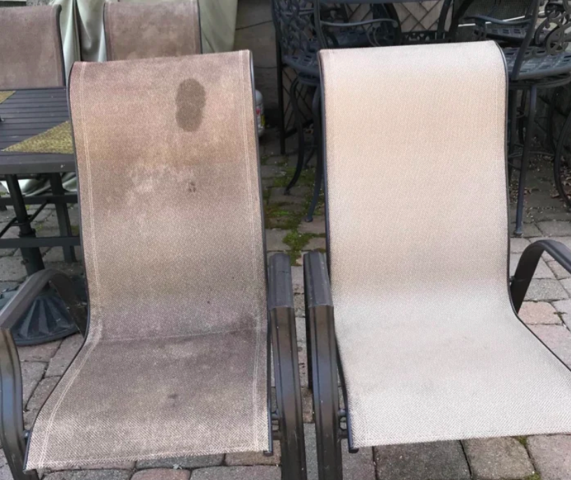 A stained gray patio chair beside a cleaned match, white and even after cleaning
