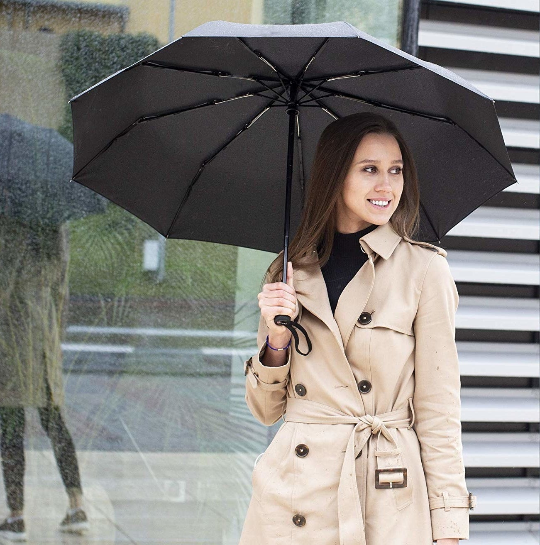 model holding black umbrella
