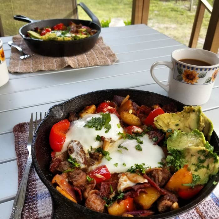 The cast-iron with a breakfast hash in it
