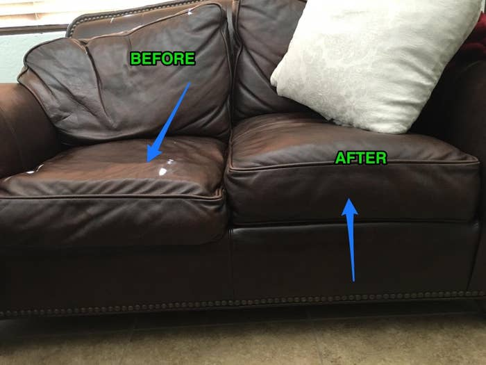 A reviewer's loveseat, half without the supports, looking very slouchy and worn-in, and half with them, looking neater and newer