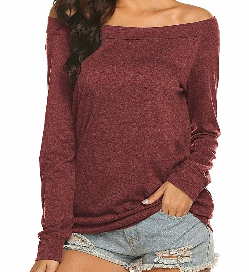 the shirt in burgundy