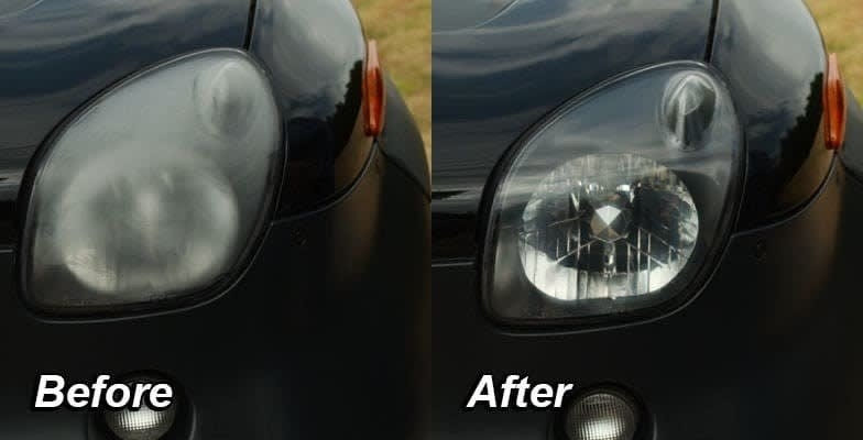 On the left, a headlight looking foggy, ad on the right, the same headlight now looking shiny and clear