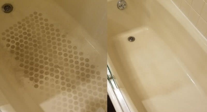 On the left, the bottom of a tub covered with soap scum and grime, and on the right the same tub, but it's now completely clean