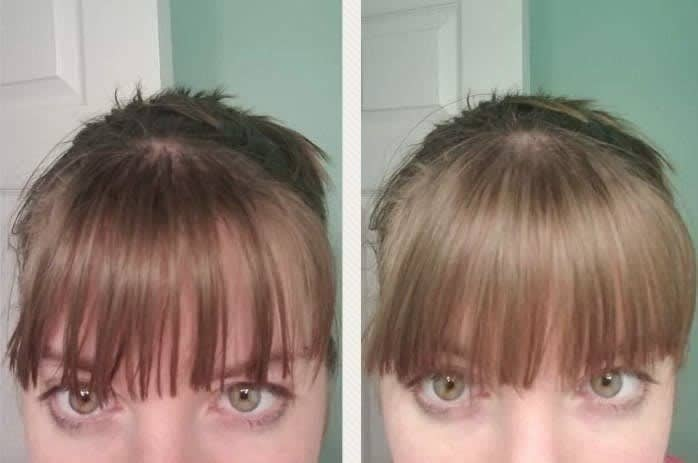 A vertically-split before and after reviewer photo showing their bangs looking oily on the left, and the same individual with bangs looking fresh on the right