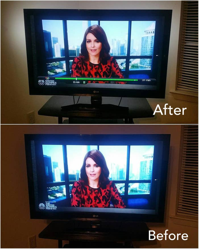 A reviewer's before/after of their TV with backlighting: before with a less clear picture and brights that strain the eyes and after with clearer picture and backlighting on the wall
