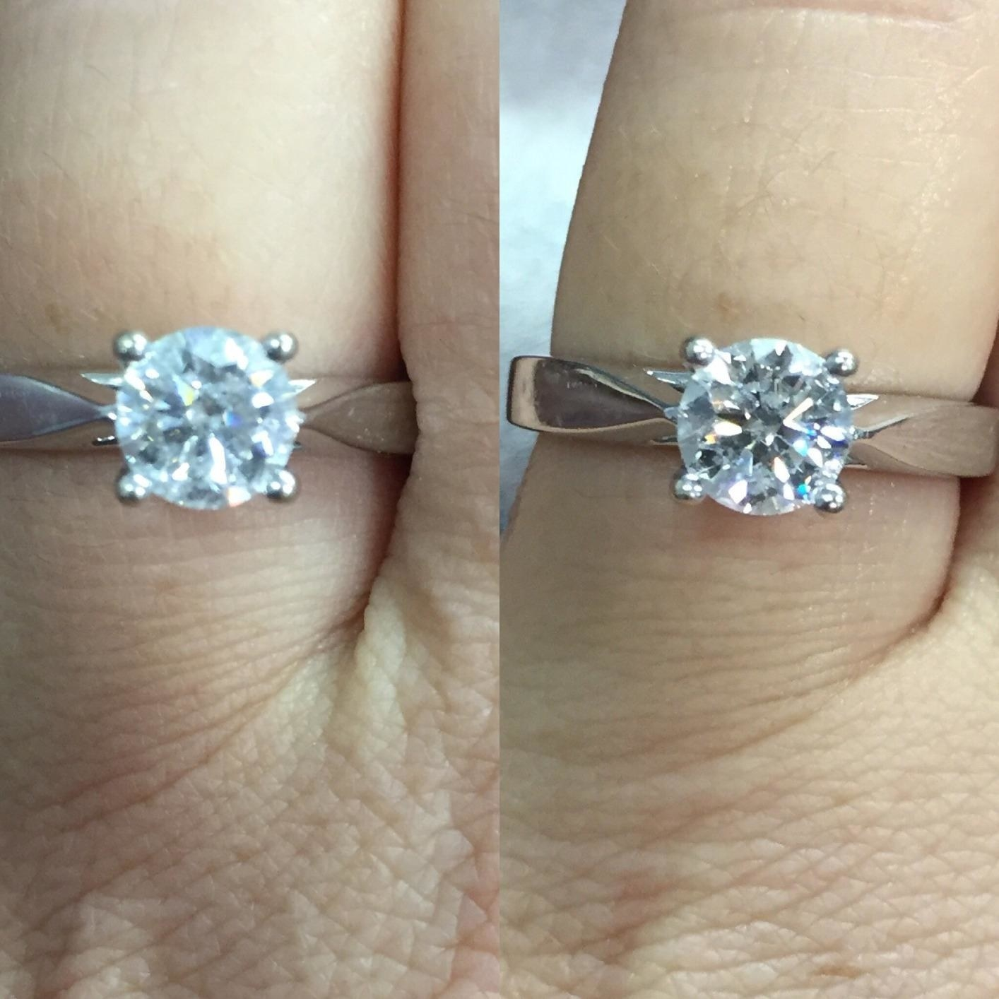 A reviewer's solitaire ring: on the left before cleaning looking cloudy, on the right clean with defined facets and sparkle