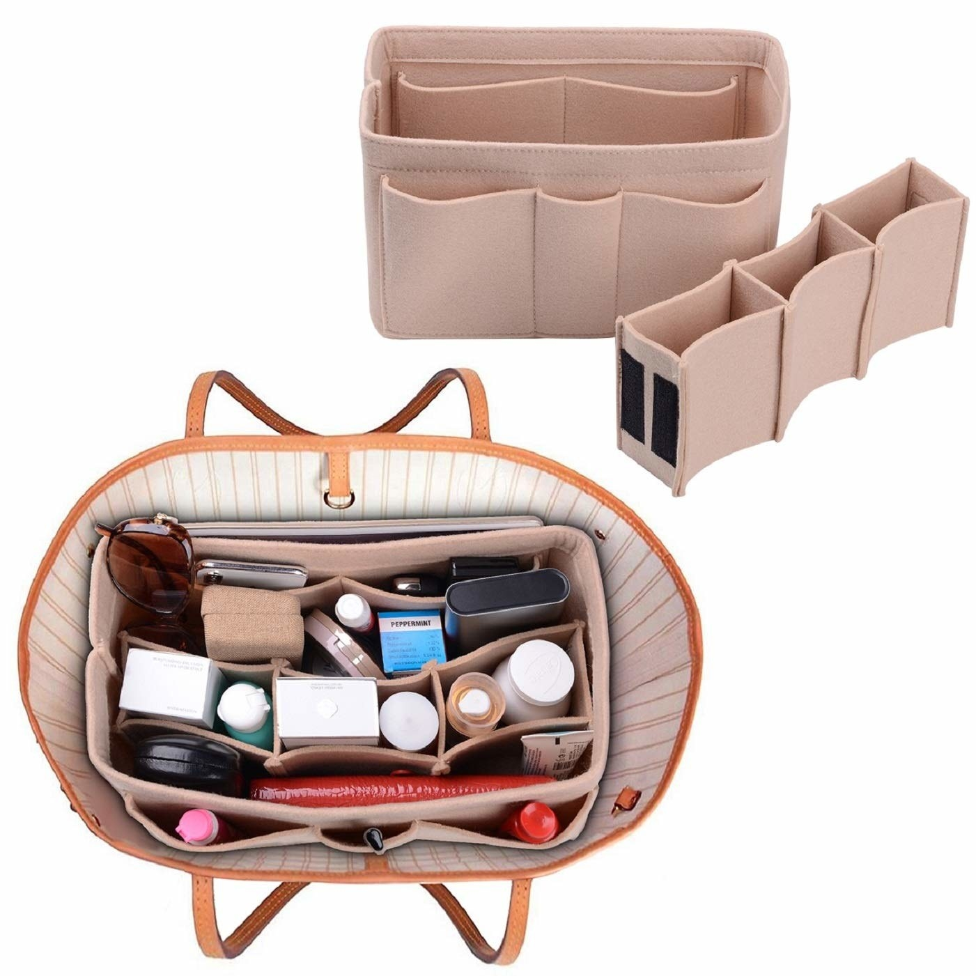 The felt organizer in pink from the front and side, and also shown organizing items in a tote