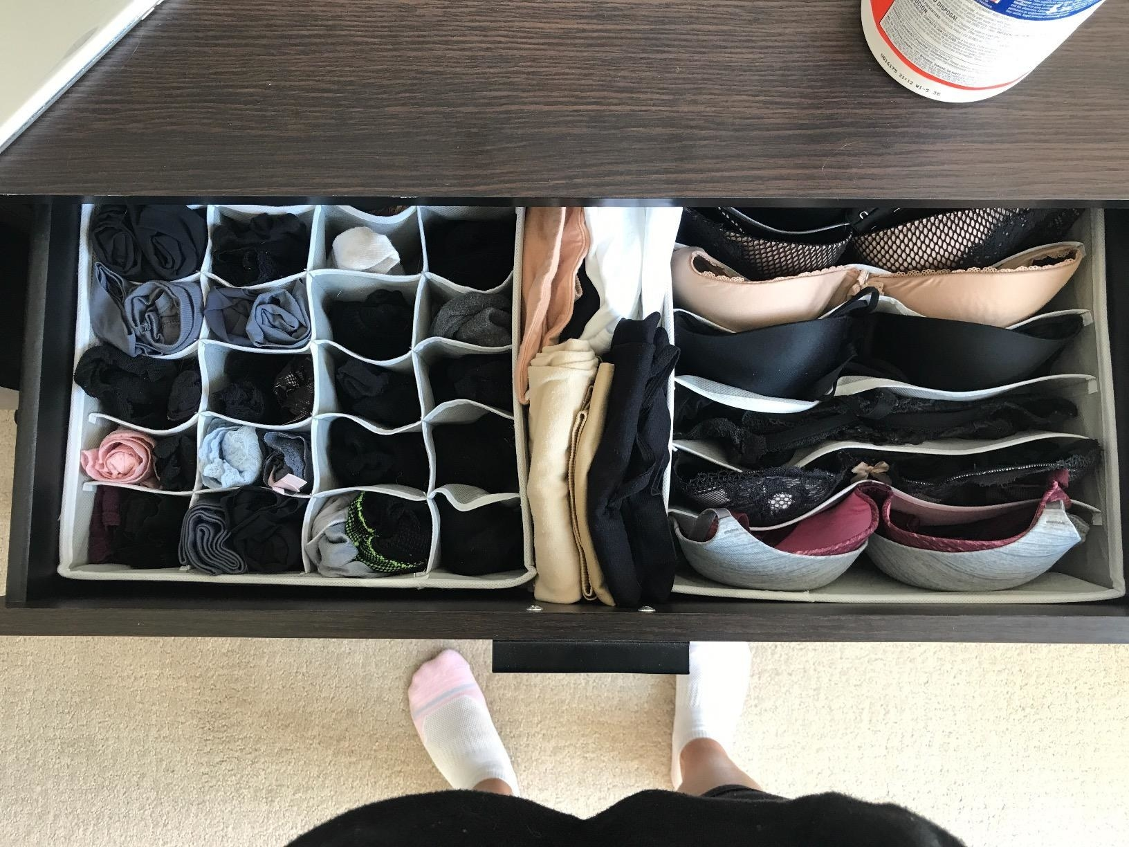 A reviewer's drawers with the dividers in them separating bras and undies