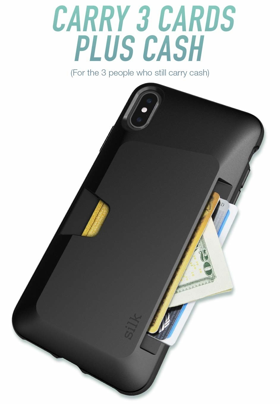 """The black hard case with a slot for cards and cash and the text """"carry 3 cards plus cash (for the 3 people who still carry cash}"""""""