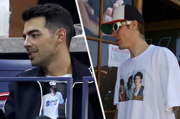 Joe Jonas Wore A T-Shirt Of Justin Bieber Wearing A Jonas Brothers T-Shirt