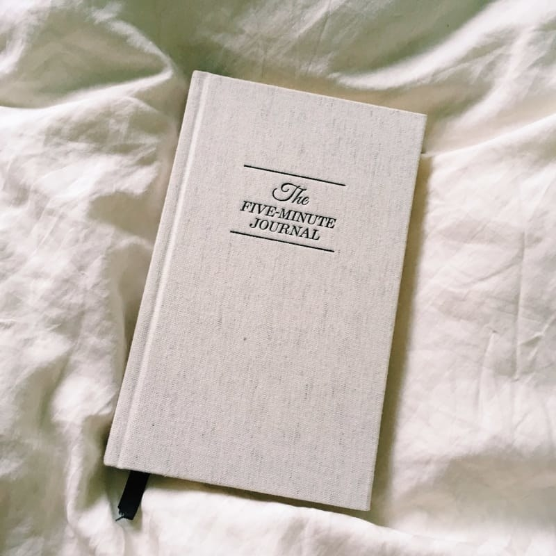 The light off-white fabric-covered hardback journal, with the embossed title in black