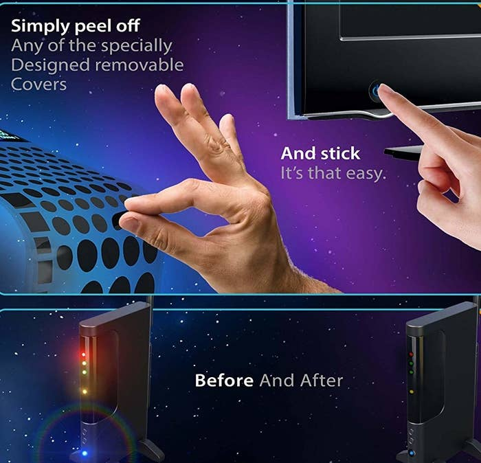 hand peeling off a small circular black sticker from a sheet then sticking on the bright power button of a TV. And before: an internet router with bright flashing lights and after: the lights significantly dimmed