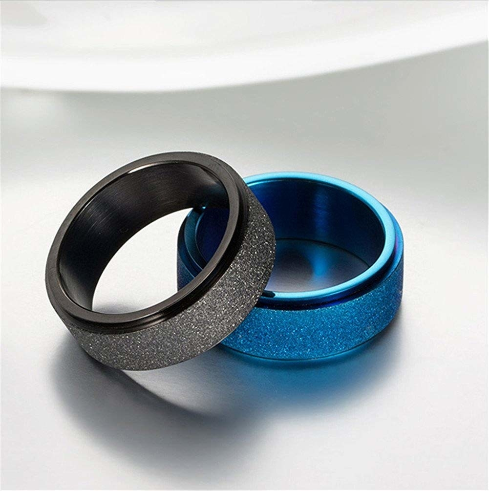 rings with textured band that spins