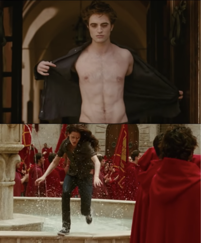 Edward unveils sparkly body, Bella leaps over fountain to save him