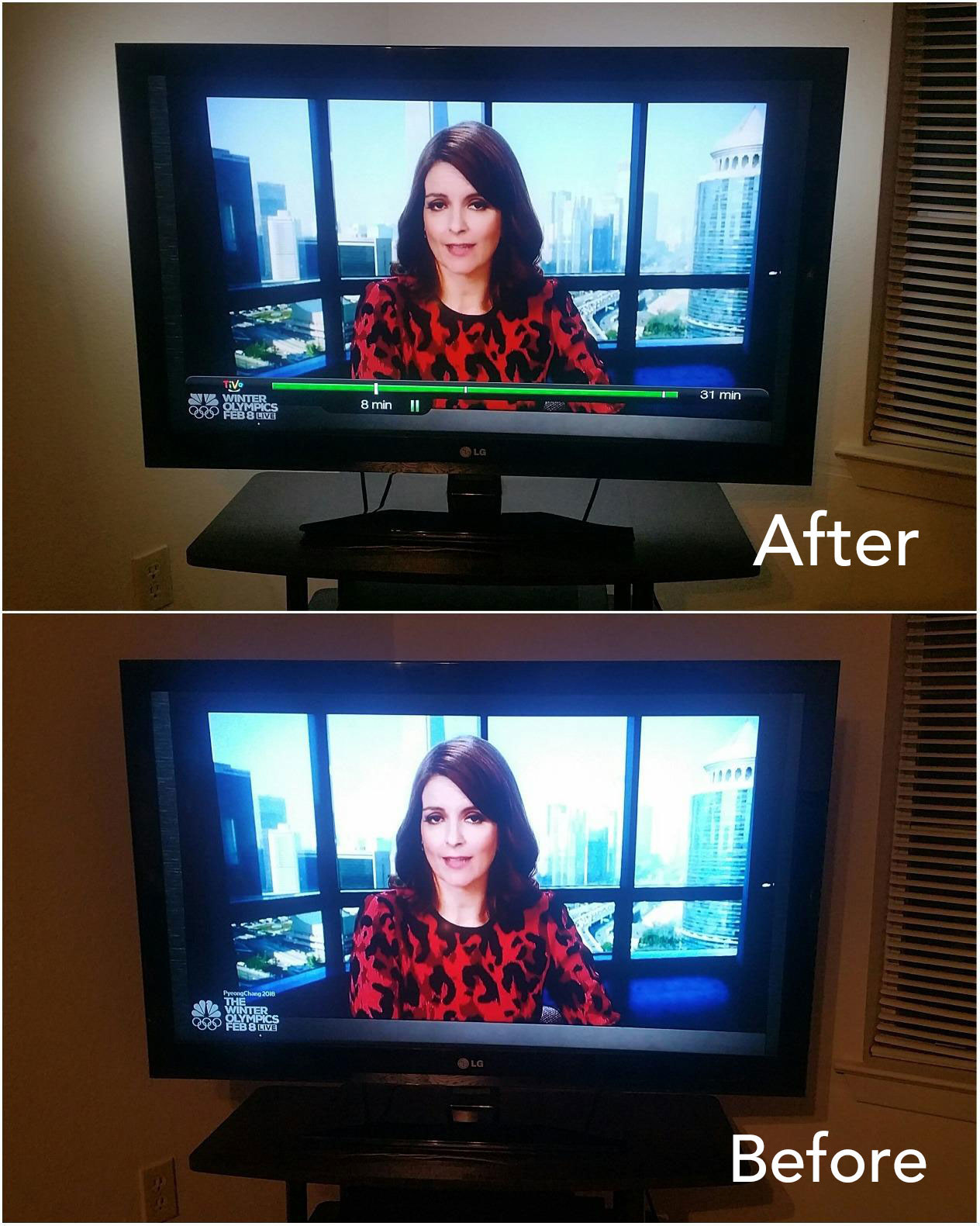 A reviewer's before/after: the TV without backlighting looking harsh with less defined colors, the TV with backlighting is easier to look at with more vibrant colors