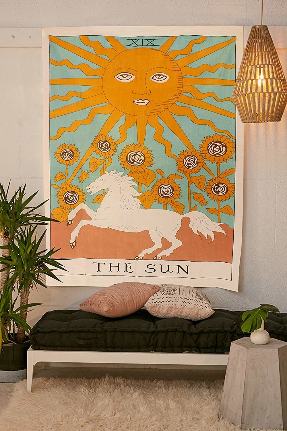 tapestry that says the sun with horse and moon and flowers