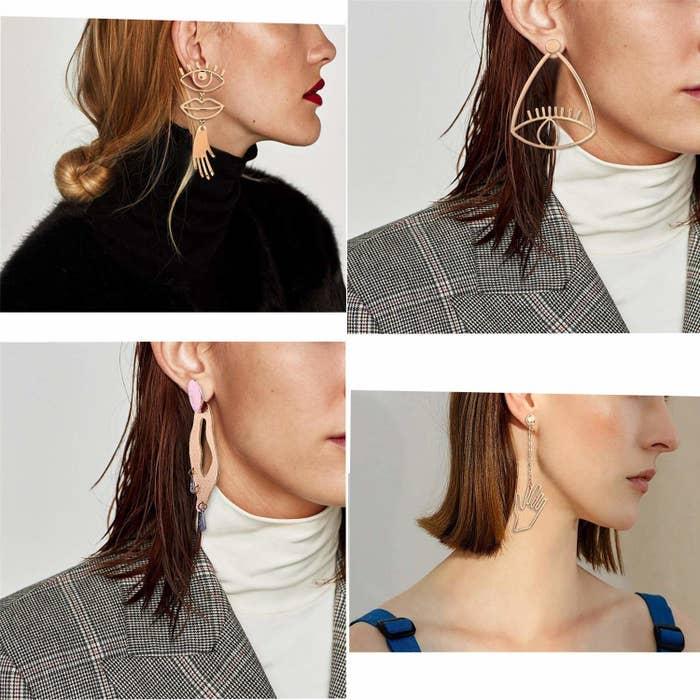 four sets of earrings shaped like an eye, hand, squiggle, and eye-lip-hand combo