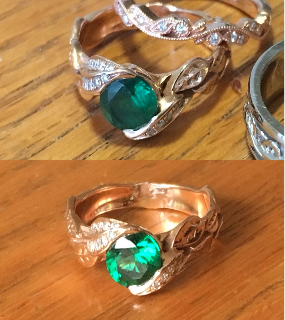 An emerald diamond ring before/after to show how much more sparkly and less cloudy it is