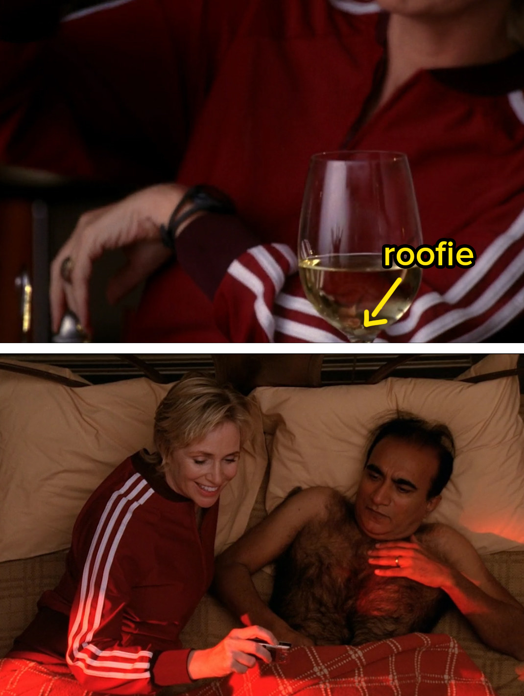 Sue posing with Principal Figgins in bed, with his shirt off while she's smiling
