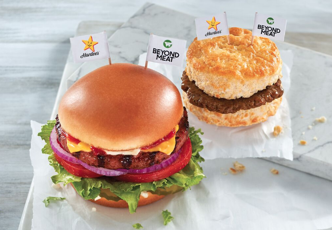 a photo of the former beyond meat options at Hardee's