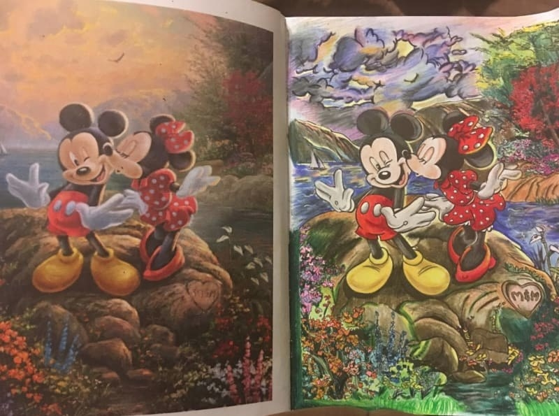 Reviewer image of a colored-in page of Mickey Mouse