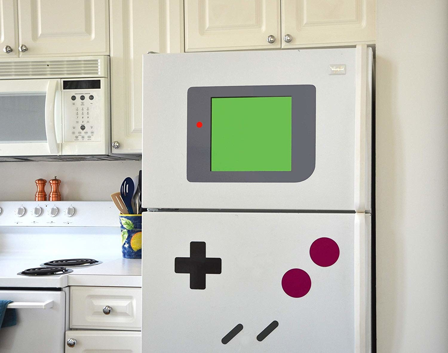 Refrigerator with old school Gameboy buttons and screen decals