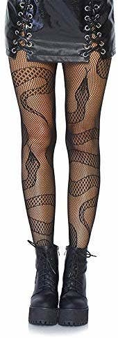 a model wearing the snake fishnet tights
