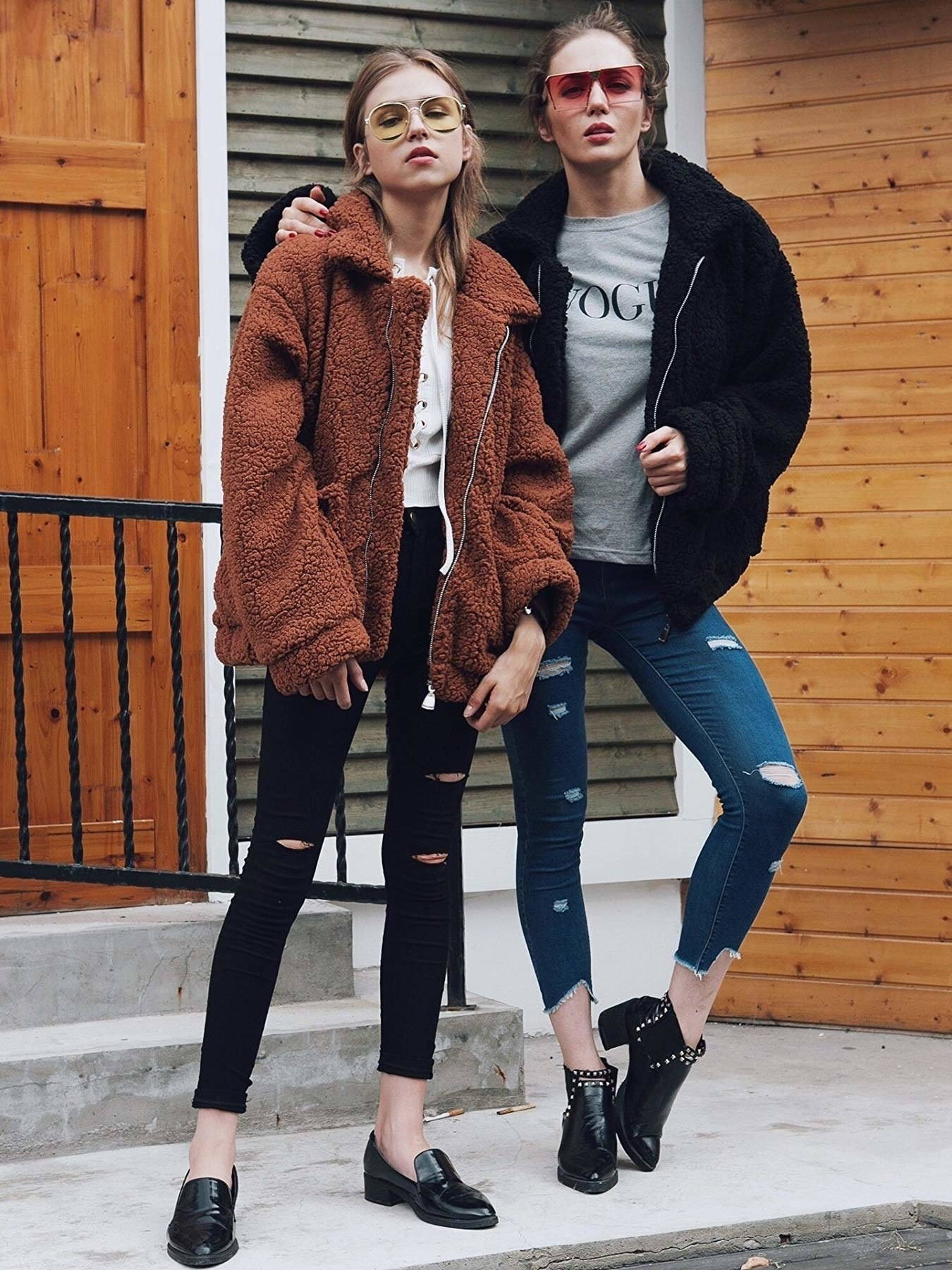 Two models wear the PRETTYGARDEN shaggy jacket; one in brown and the other in black