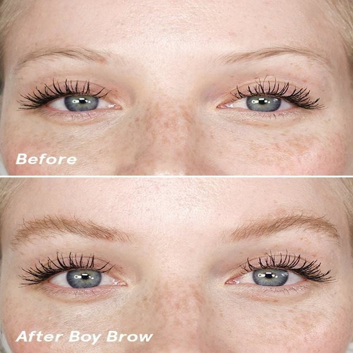Model's eyebrows before using the gel and after using the gel — looking visibly thicker and more filled in after using the gel
