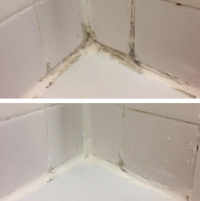 A reviewer's before-and-after shot of mold in the corner of a tub, and then the mold being about 90% gone