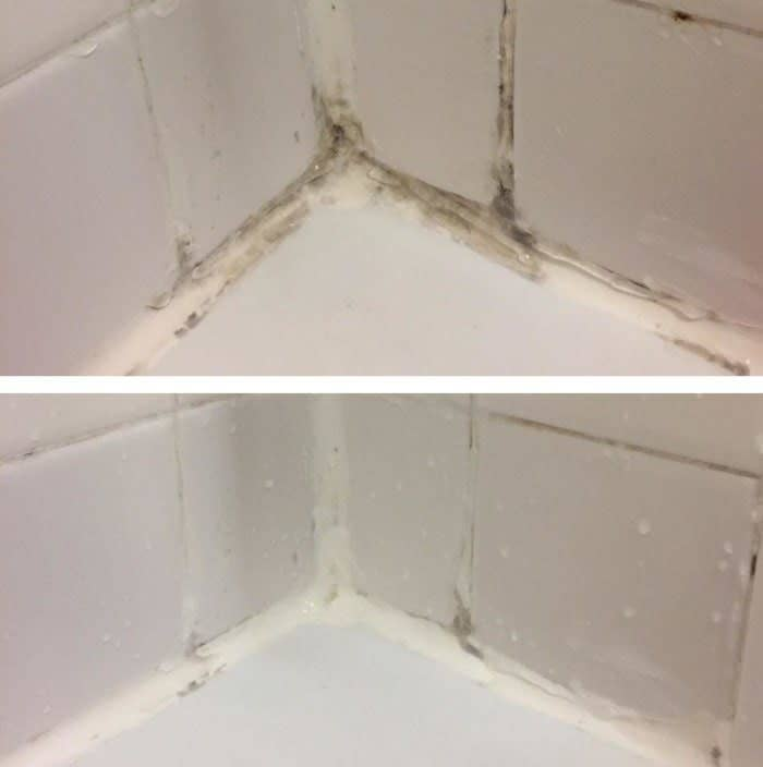 Reviewer photo of mold between tiles in a bathroom tub next to an after photo of the mold about 90% gone