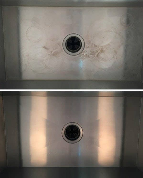 Reviewer showing their dirty sink with cup rings and residue next to their after photo of the sink looking spotless