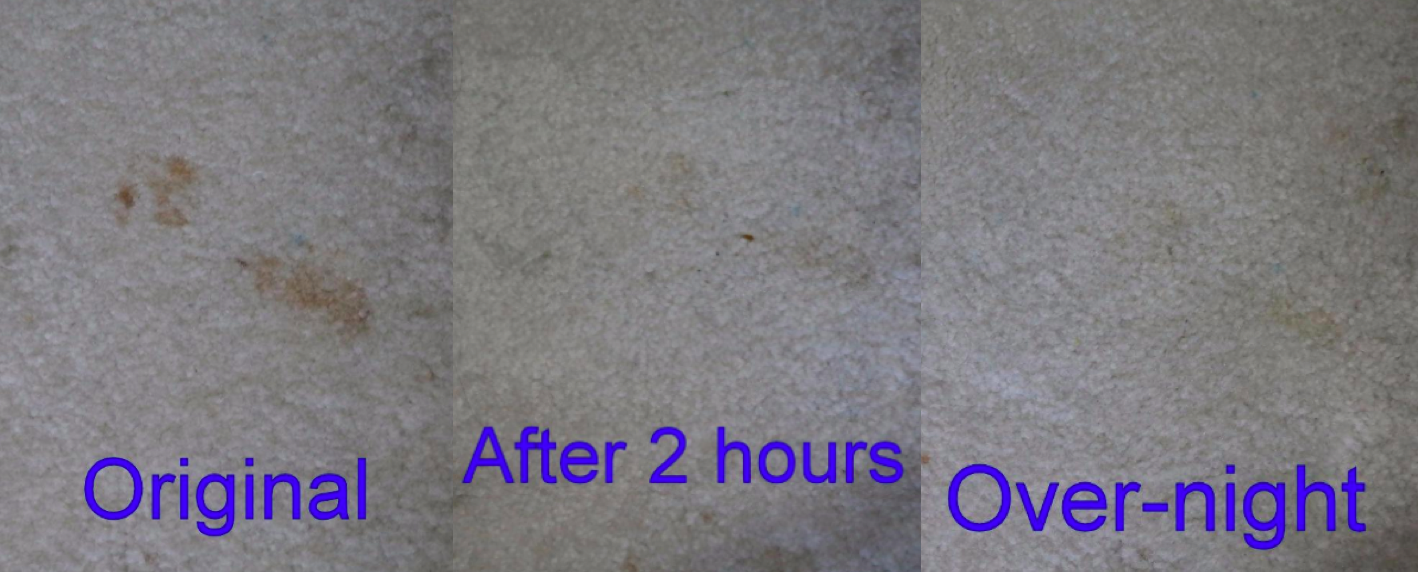 A customer review photo showing the before and after photos of using the pads on stained carpet