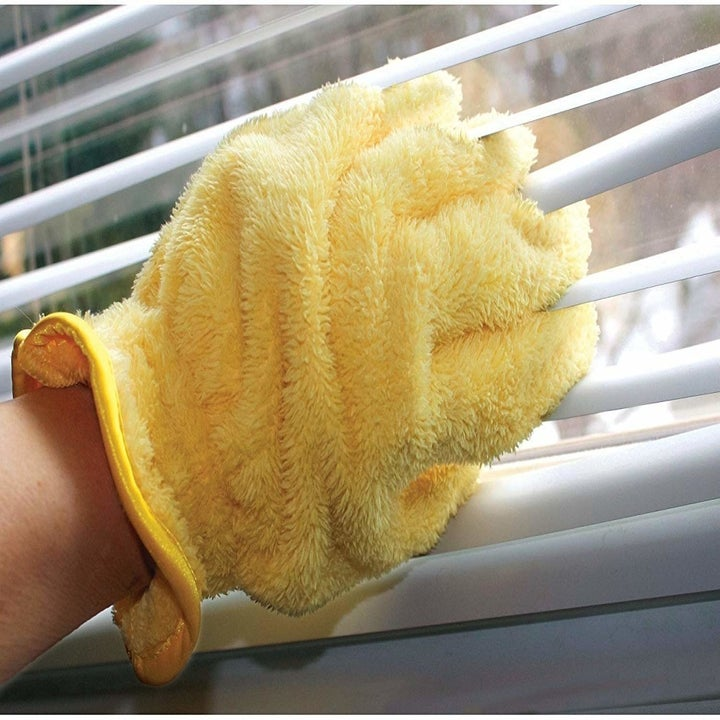 Person wearing glove and cleaning blinds between their fingers