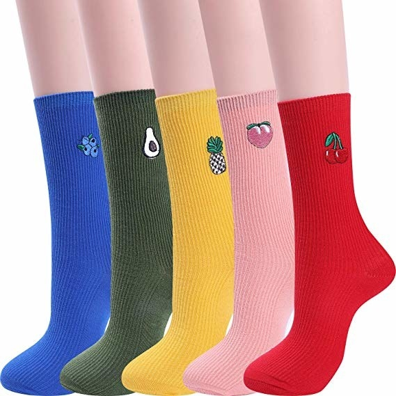 five socks each in a different color and featuring an embroidered fruit